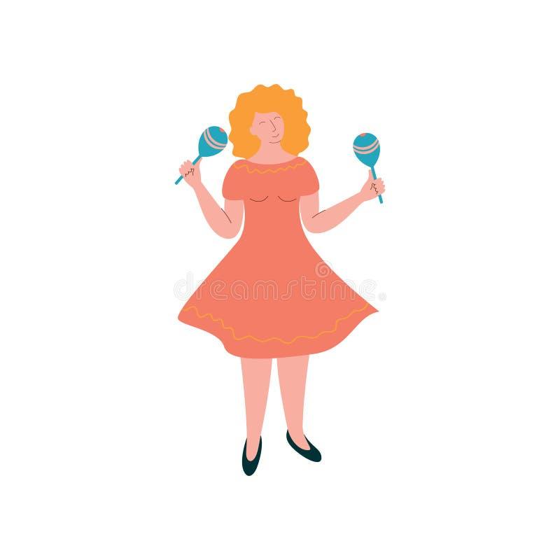 Junge Frau rüttelndes Maracas, weibliche Musiker-Playing Musical Instrument-Vektor-Illustration vektor abbildung