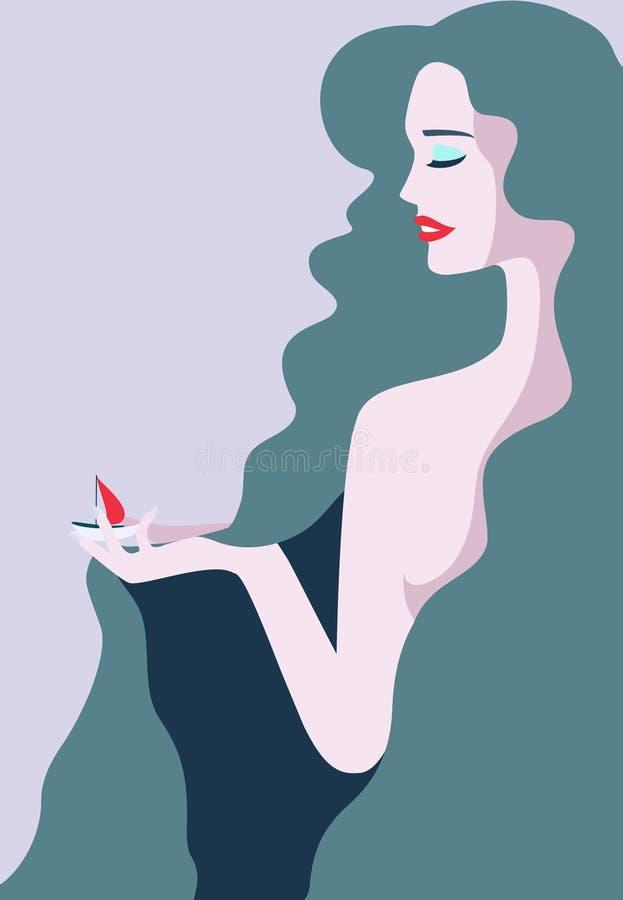 Junge Frau Retty mit dem blauen Haar, das mit einem roten Papier-sheap spielt lizenzfreie abbildung