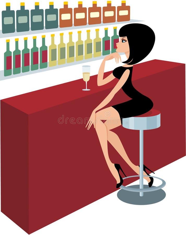 Junge Frau sitzt an einem Stabzählwerk lizenzfreie abbildung