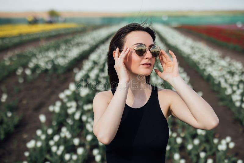 Junge Frau am sonnigen Tag der Sonnenbrille im Frühjahr auf Tulpen Blumenfeld Mutter`s Tag frühjahr stockfotografie