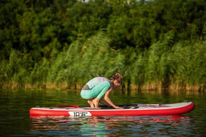 Junge Frau tun Yoga auf einer Radschaufel des Stands oben DINIEREN auf einem schönen See oder einem Fluss stockfotos
