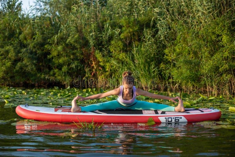 Junge Frau tun Yoga auf einer Radschaufel des Stands oben DINIEREN auf einem schönen See oder einem Fluss stockfotografie