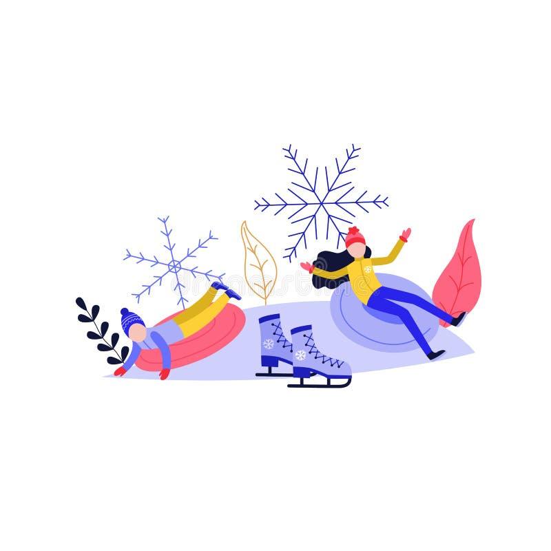 Junge Frau und Kind, die Spaß auf dem Schneehügel lokalisiert auf weißem Hintergrund rodelt und hat lizenzfreie abbildung