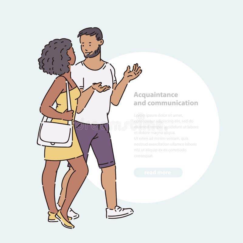 Junge Frau und Mann, die hinunter Straße und die Unterhaltung geht Weg- und Schwätzchenpaarfreunde in der Sommerzeit-Vektorlinie  stock abbildung