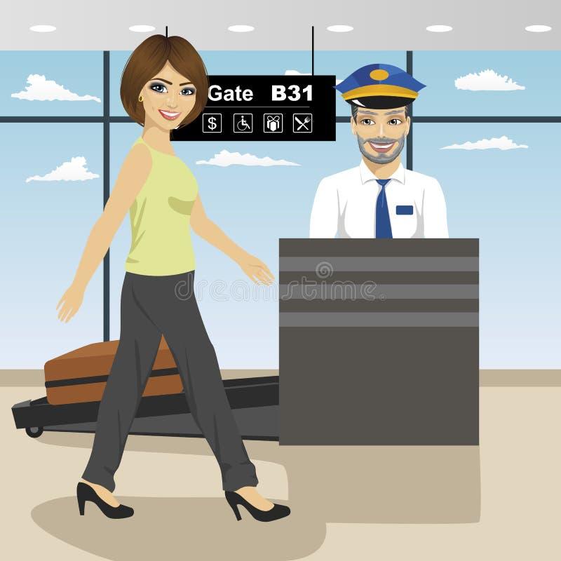 Junge Frau verabschiedet Sicherheitskontrollesteuerung, während Polizist Gepäck mit x-Strahlnmaschine kontrolliert vektor abbildung