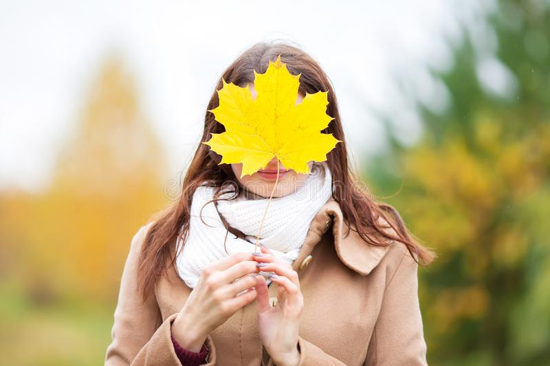 Junge Frau versteckt Gesicht mit Herbstgelb-Ahornurlaub stockfotografie