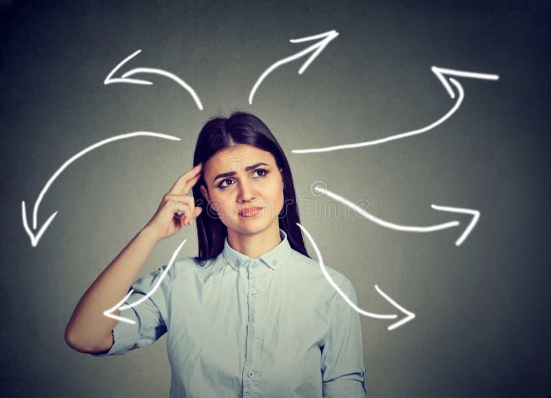 Junge Frau verwirrt von der neuen Geschäftsidee lizenzfreie stockfotos
