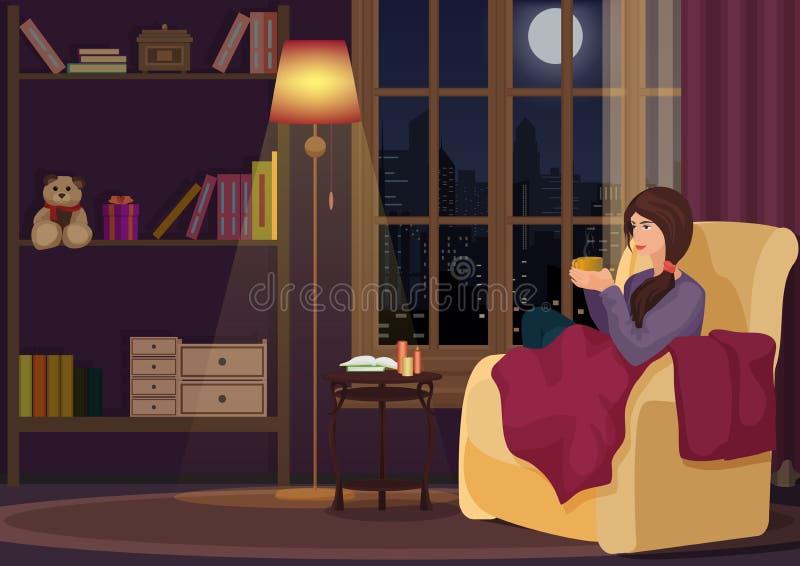 Junge Frau zu Hause, die in der weichen chear Entspannung in ihrem Wohnzimmer und trinkender Kaffee oder Tee sitzt Mädchenreste i lizenzfreie abbildung