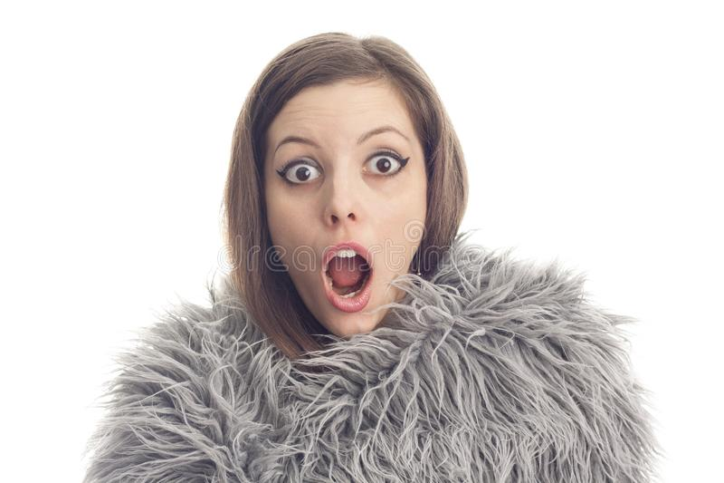 Junge Frau zu schockierenden Nachrichten stockbild
