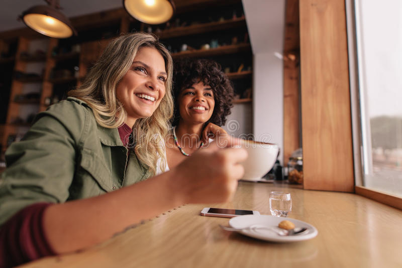 Junge Frau zwei, die am Café sitzt und Kaffee trinkt lizenzfreies stockbild