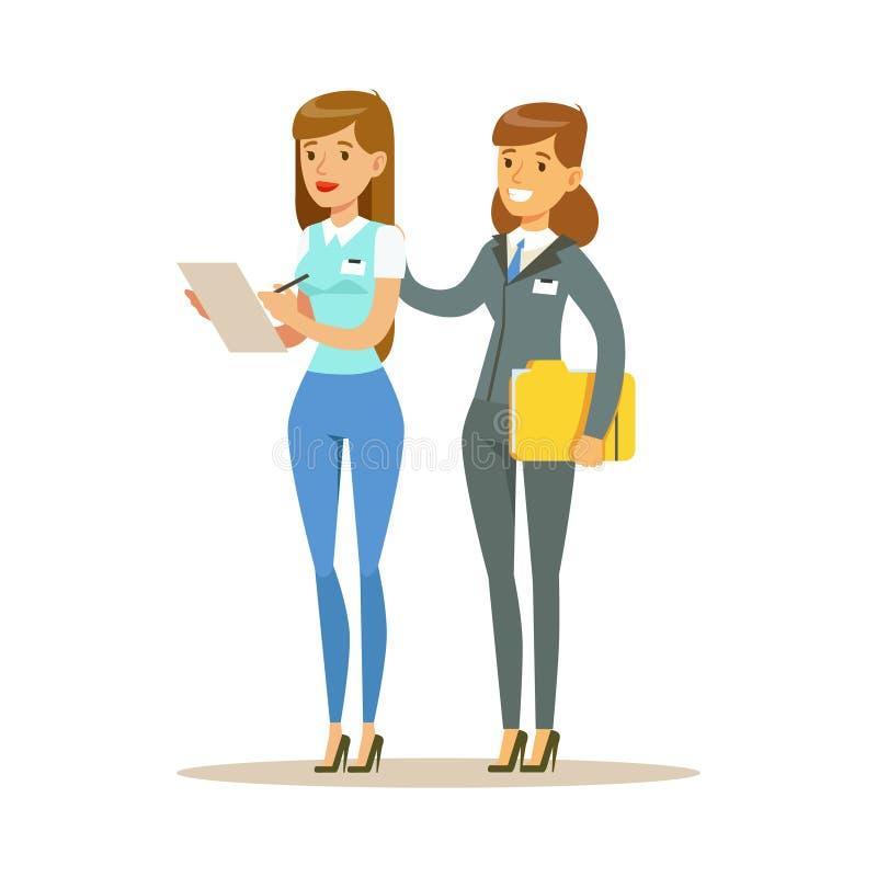 Junge Frau zwei, die im Büro zusammenarbeitet Bunte Zeichentrickfilm-Figur-Vektor Illustration vektor abbildung