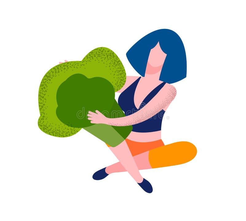 Junge Frauen-Charakter-Griff-Stück enormer Brokkoli stock abbildung