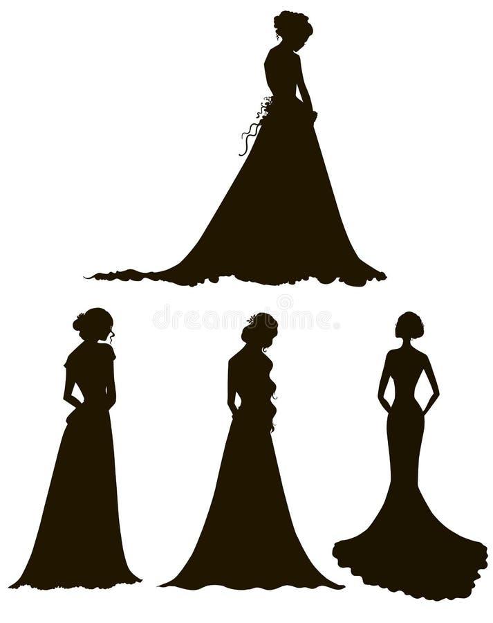Junge Frauen in den langen Kleiderschattenbildern bräute umreiß stock abbildung