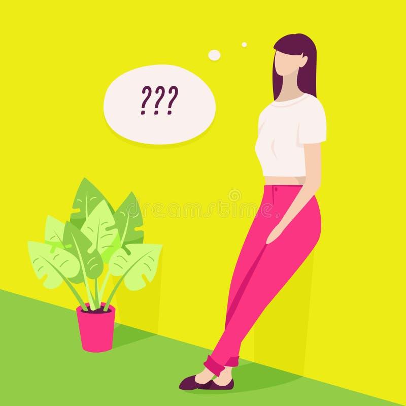 Junge Frauen-Denken vektor abbildung