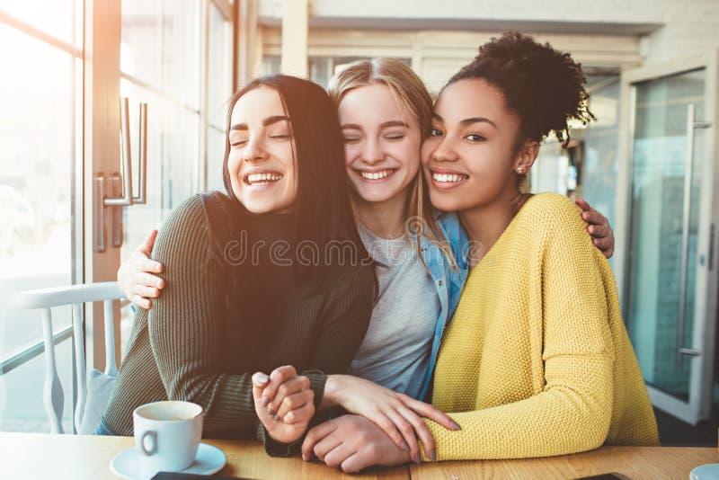 Junge Frauen des Baums sitzen zusammen in einem kleinen Café mit großen Fenstern und umfassen mit einander lizenzfreie stockbilder