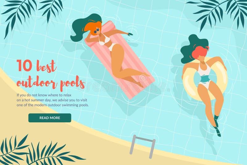 Junge Frauen, die aufblasbare Ringe im Pool schwimmen stock abbildung