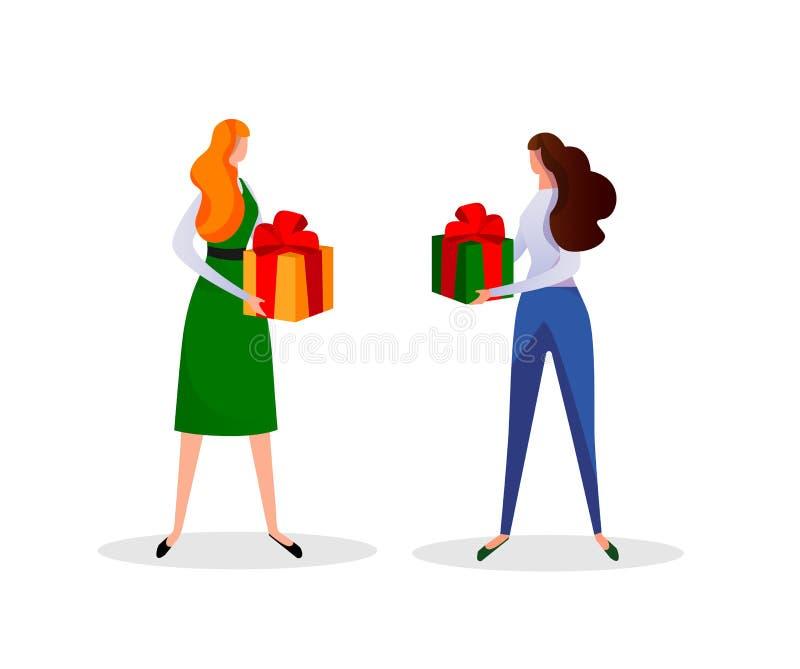 Junge Frauen, die Geschenkboxen in den Händen halten feiertag lizenzfreie abbildung