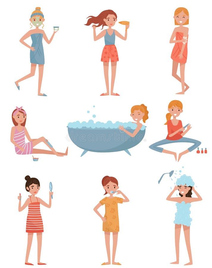 Junge Frauen, die Sorgfalt von nehmen zu legen, das Mädchen anwendet Maske, ihr Haar trocknend und tun die Wachsenthaarung und Ma stock abbildung