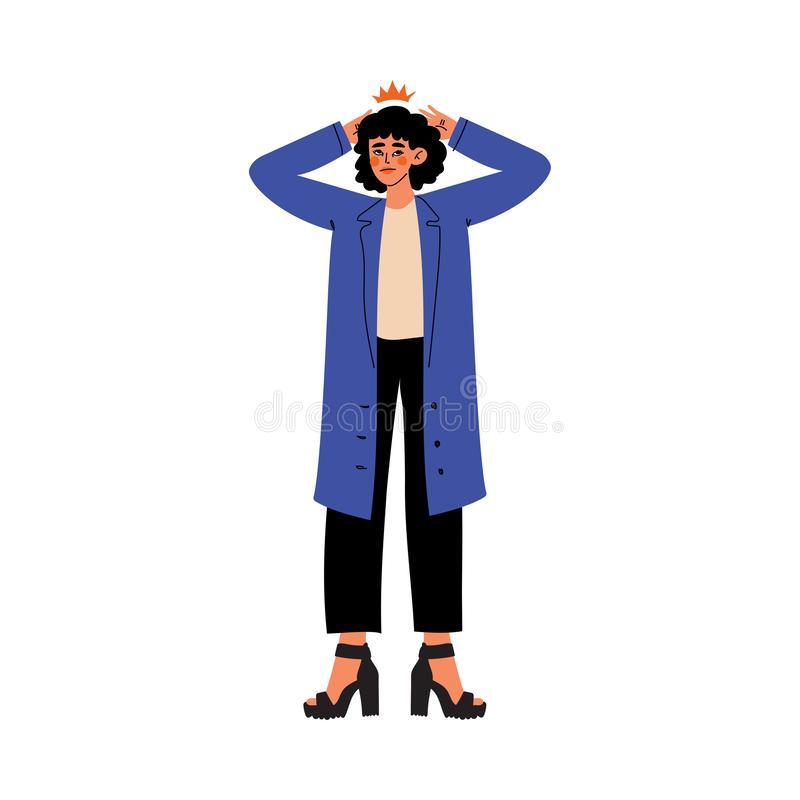 Junge Frauen-Händchenhalten auf ihrem Kopf, Migräne, Kopfschmerzen, Mädchen-glaubenden Schmerz in ihrem Körper verursacht durch K stock abbildung