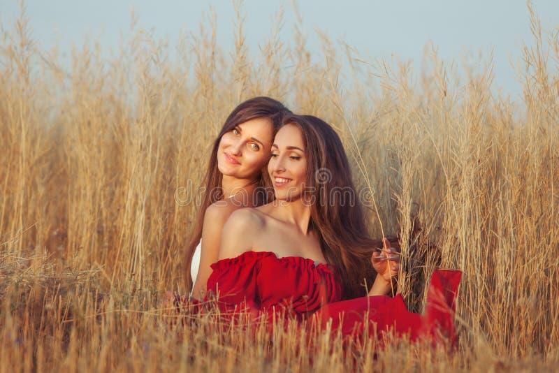 Junge Frauen im Gras stockfotos