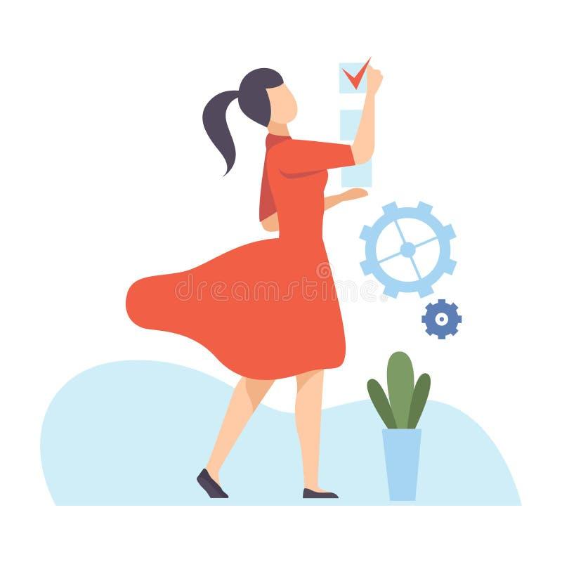Junge Frauen planen ihren Zeitplan mit detaillierten Hinweisen, Organisation und Steuerung der Arbeitszeit, effizientem Zeitmanag vektor abbildung
