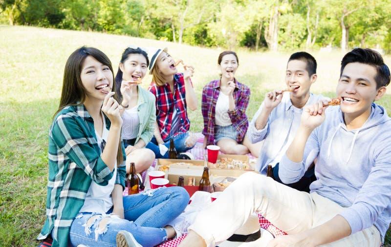 junge Freunde, die gesundes Picknick genießen stockfotografie