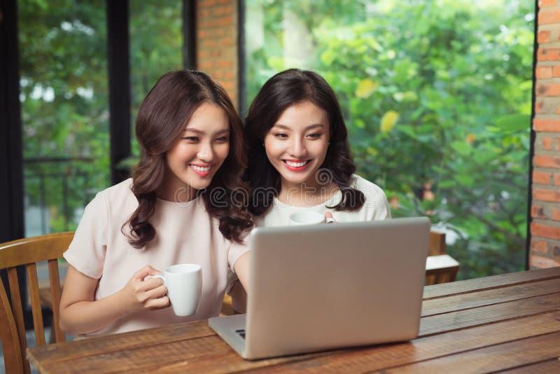 Junge Freundinnen, die zusammen das Internet auf einen Laptop surfen stockbild