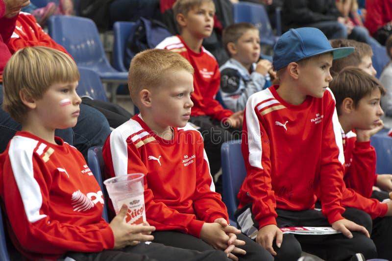 Junge Fußballfane lizenzfreie stockfotografie