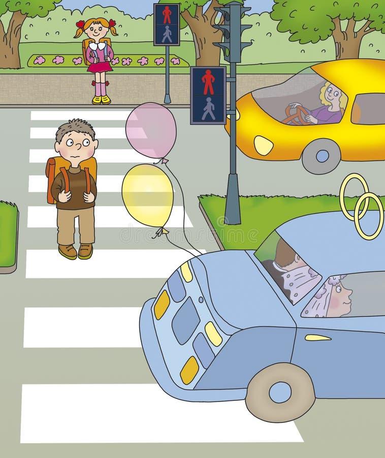 Junge gedrehte Hälfte der Straße lizenzfreie abbildung
