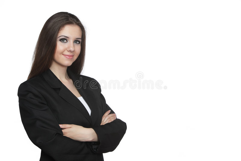 Junge Geschäftsfrau über Weiß lizenzfreies stockbild
