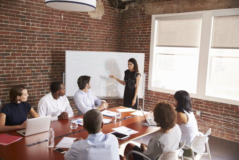 Junge Geschäftsfrau Addressing Boardroom Meeting lizenzfreie stockfotos