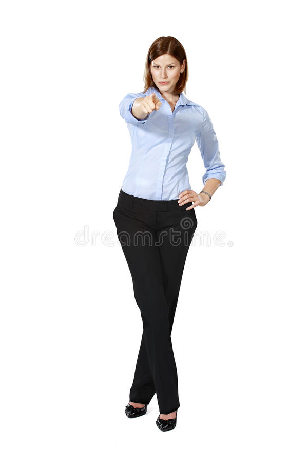 Junge Geschäftsfrau, die auf Sie zeigt lizenzfreie stockbilder