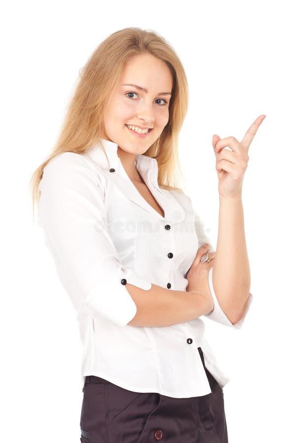Junge Geschäftsfrau, die eine Idee hat lizenzfreies stockbild