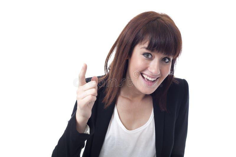 Junge Geschäftsfrau, die Finger zeigt stockbilder