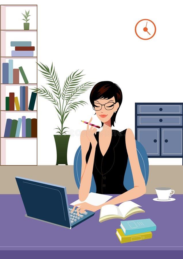 Junge Geschäftsfrau, die an Laptop-Computer arbeitet vektor abbildung