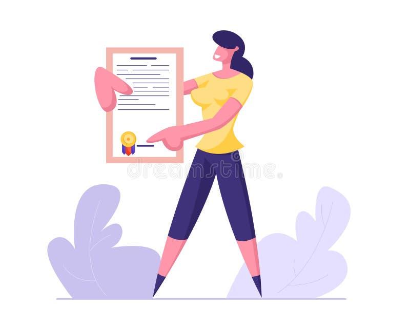 Junge Geschäftsfrau, die Versicherungspolice-Zertifikat mit Siegelstempel hält Schutz von Gesundheits-und Eigentums-Interessen lizenzfreie abbildung