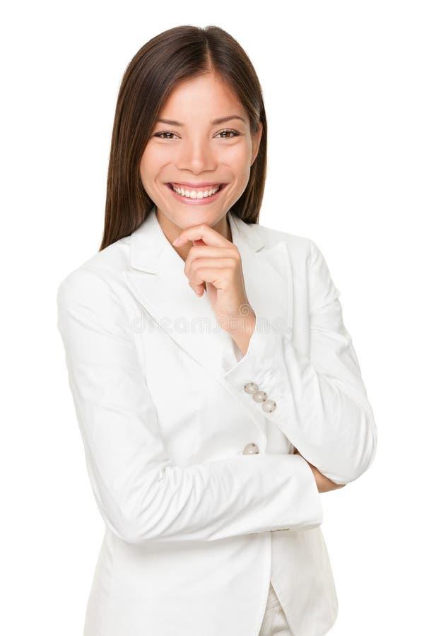 Junge Geschäftsfrau With Hand On Chin stockfotografie