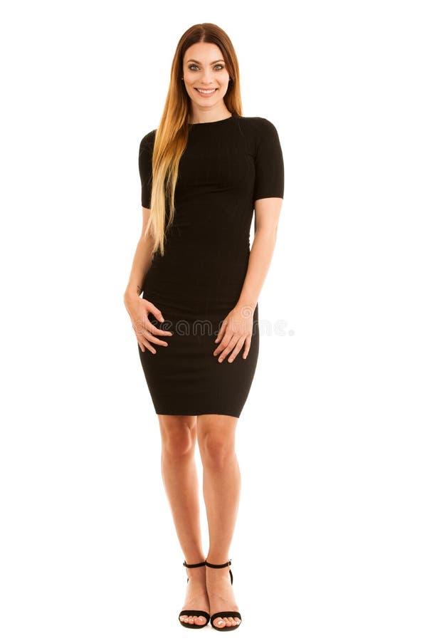Junge Geschäftsfrau im schwarzen Kleid lokalisiert über weißem backgrou stockbilder