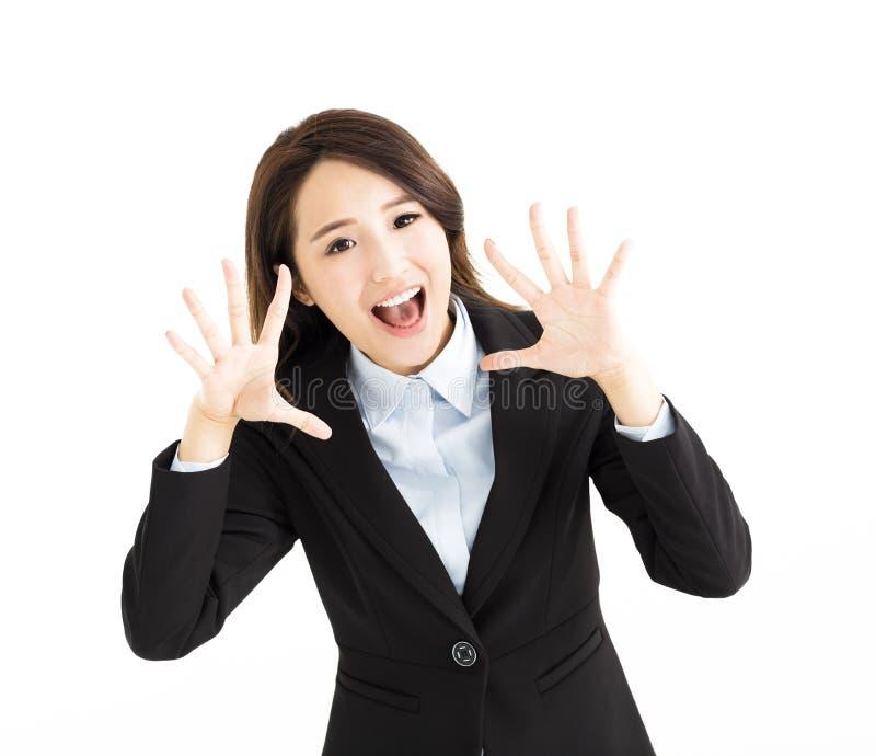 Junge Geschäftsfrau ist schreiend stockfotos