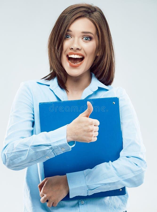 Junge Geschäftsfrau mit Papierordner stockbild