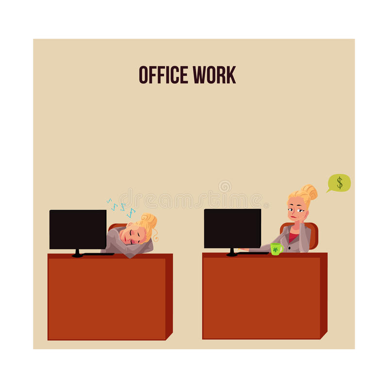 Junge Geschäftsfrau, Sekretär, der am Schreibtisch, denkend an Geld döst vektor abbildung