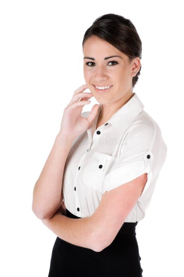 Junge Geschäftsfrau, welche die Kamera, getrennt betrachtet lizenzfreies stockbild