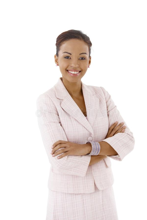 Junge Geschäftsfrauaufstellung lizenzfreie stockfotografie