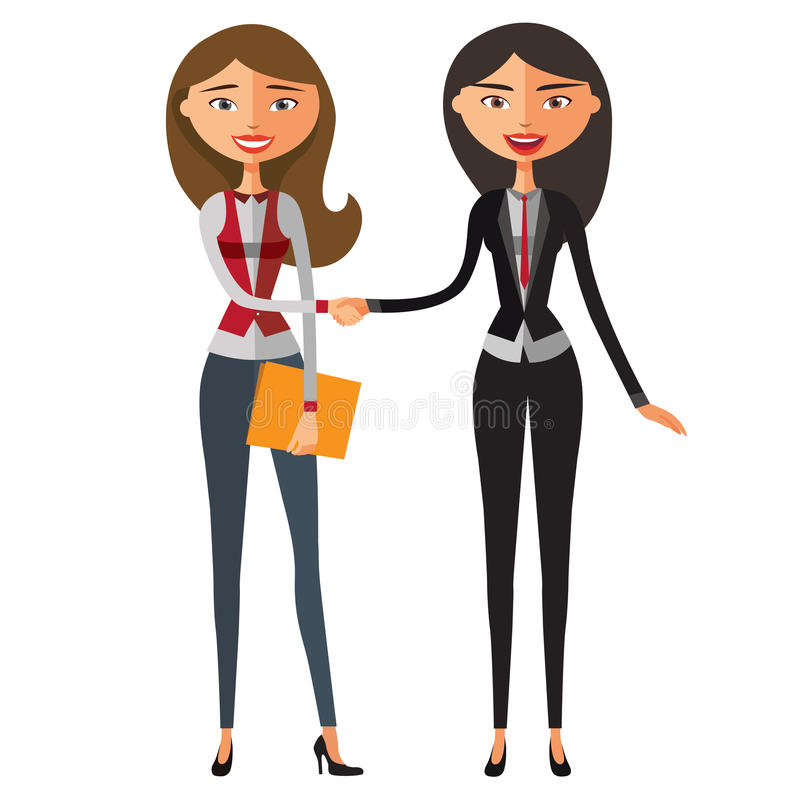 Junge Geschäftsfrauleute, die Hände auf einer erfolgreichen Vereinbarung rütteln vektor abbildung