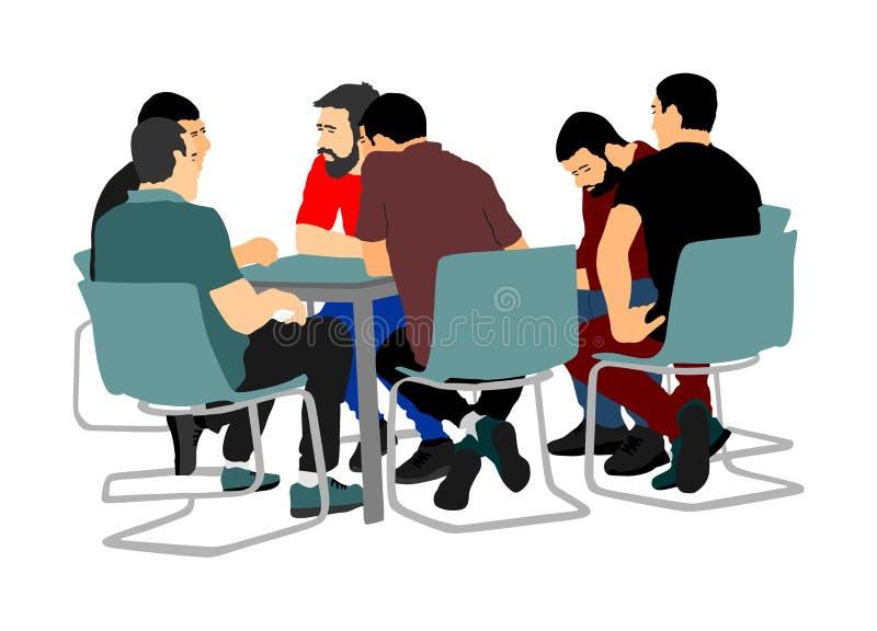 Junge Geschäftsleute, die über neue Idee sitzen und sprechen Es tut sich Sitzung zusammen Gruppe Freunde, die nach der Arbeit in  stock abbildung