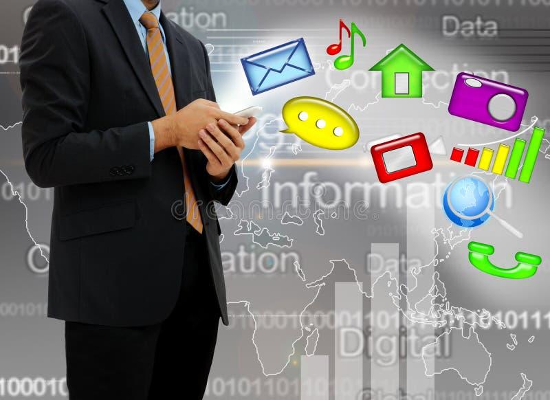 Junge Geschäftsmanntechnologie stockbild