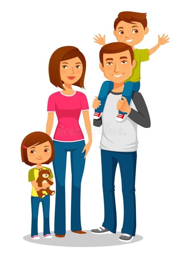 Junge glückliche Familie mit zwei Kindern stock abbildung