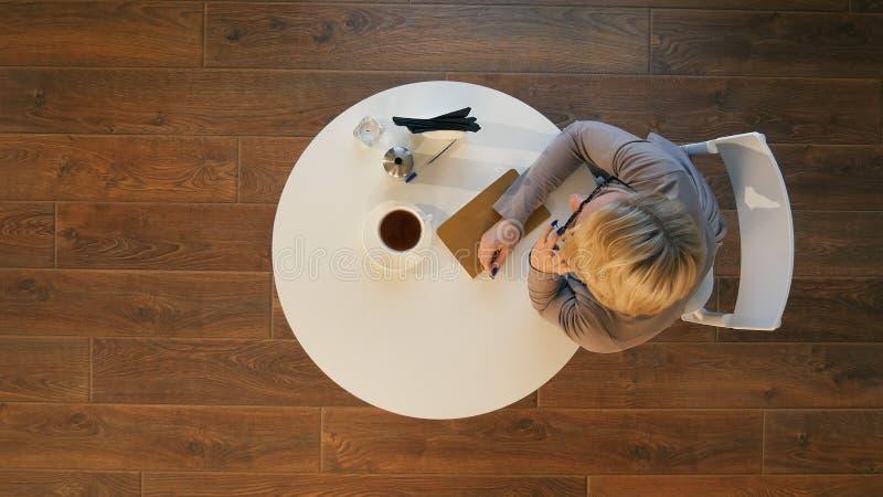 Junge glückliche Frau, die am Handy mit Freund beim in der modernen Kaffeestube allein sitzen spricht stockfotografie