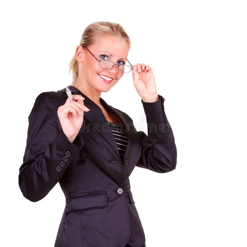Junge glückliche Geschäftsfrau lizenzfreie stockbilder