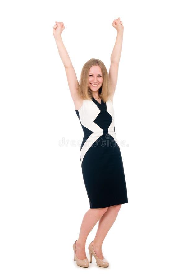 Junge glückliche Geschäftsfrau mit den Händen oben stockbilder